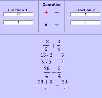 online calculator with fractions and whole numbers