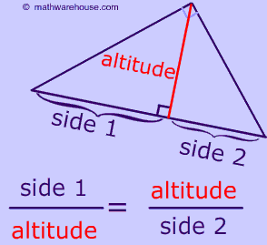 Similar Right Triangles formed by an Altitude. The Geometric Mean ...