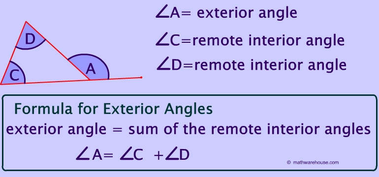 Remote exterior and interior angles of a triangle - The exterior angle of a triangle is equal to ...