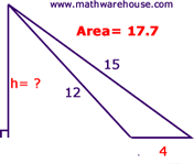 Area of a triangle formula examples pictures and practice find height from area ccuart Choice Image