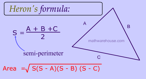 Herons Formula  Explained with pictures, examples and