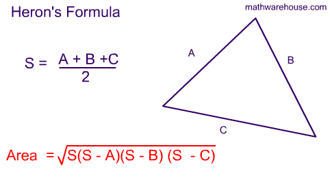 heron formula Herons formula herons formula (hero's formula): heron gave the famous formula for finding the area of triangle in terms of its three sidesherons formula is named after hero of alexandria.