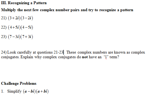 Subtracting Complex Numbers Worksheet: Multiply Complex Numbers Worksheet (pdf) and Answer Key  28    ,