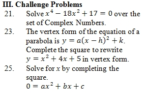 Printables Completing The Square Worksheet completing the square worksheet pdf with answer key 25 example questions questions