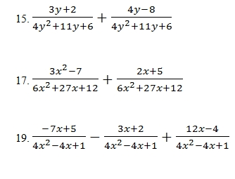 directions add and subtract the rational expressions below - Adding And Subtracting Rational Expressions Worksheet
