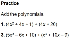 example questions - Adding Polynomials Worksheet