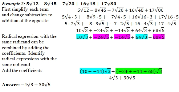 Adding and subtracting radicals worksheet with answer key