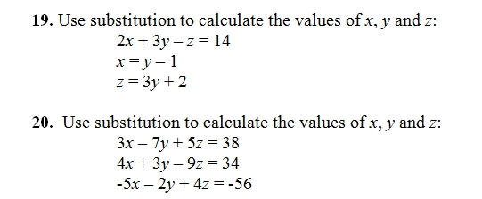 solve systems of equations by substitution sheet and key