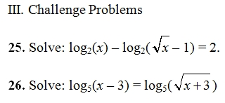 Logarithmic equations worksheet pdf with key 27 log questions with