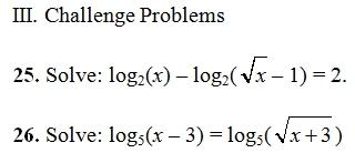 Logarithmic Equations Worksheet Pdf With Key 27 Log Questions