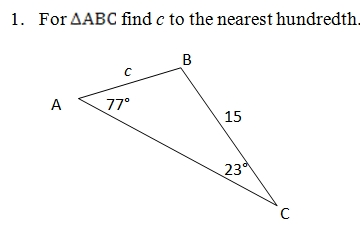 Law of Sines Worksheet (pdf) with answer key and model problems
