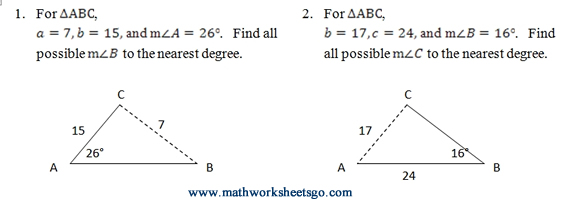 Ambiguous Case of Law of Sines Worksheet (pdf) with answer ...