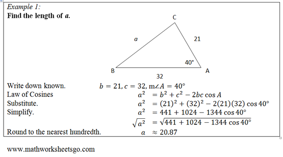 Law of Cosines Worksheet. Free pdf with answer key, visual aides and ...