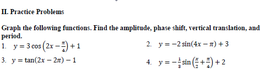 Graphing Sine Cosine Tangent With Change In Period Amplitude And