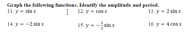 Graphing Sine And Cosine Worksheet With Answers Amplitude Period