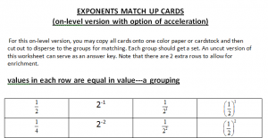 Exponents Match Up