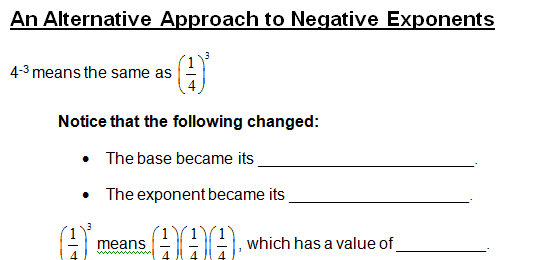 Understanding Positive And Negative Exponents Lesson Plan