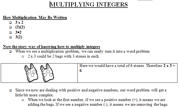Multiplying Integers Lesson Plan 7th Grade - Math Warehouse's Lesson