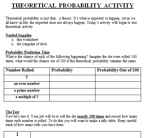 Worksheets 7th Grade Probability Worksheets theoretical and experimental probability lesson plan 7th grade worksheet
