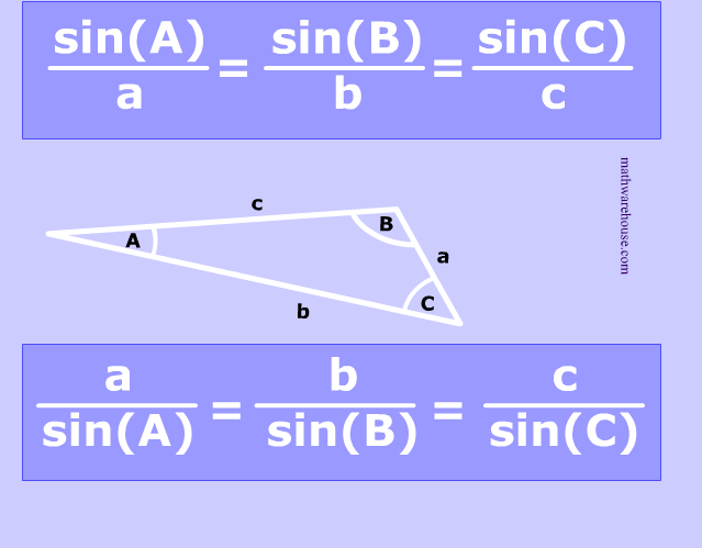 Law of Sines formula examples and practice problems – Law of Sines Worksheet
